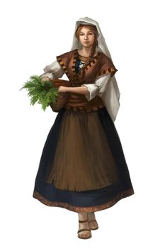f Druid Villager lwlvl Commoner Servant Herbalist Female Human - Pathfinder PFRPG DND D&D ed fantasy Dungeons And Dragons Characters, Dnd Characters, Fantasy Characters, Female Characters, Warhammer Fantasy, Fantasy Rpg, Medieval Fantasy, Fantasy Portraits, Character Portraits