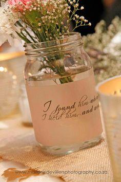 Mason jar with scripture on vellum
