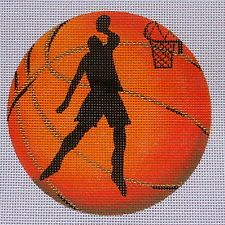 Hand Painted Needlepoint canvas Basketball player ornament
