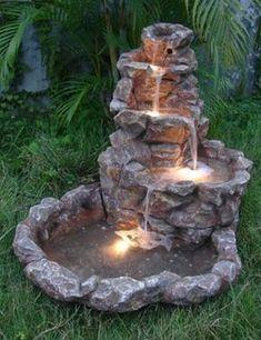 Patio Water Fountain, Backyard Water Fountains, Diy Fountain, Backyard Water Feature, Garden Fountains, Outdoor Fountains, Garden Ponds, Water Garden, Homemade Water Fountains