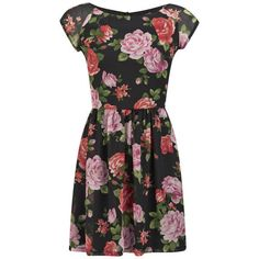 LOVE Women's Raglan Sleeve Tea Dress ($7.38) ❤ liked on Polyvore featuring dresses, vestidos, robes, short dresses, multi, skater skirt, floral dress, mini skater dress, flared skater skirt and short floral dresses