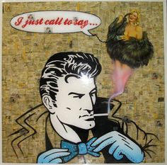 """""""I JUST CALL TO SAY..."""" From collection I LOVE YOU  Different layers of Cristal Resin Acrylic pin up painting Airbrush work sequins, phone wire, yellow pages & others  100x100 2010"""