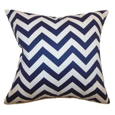 Zigzag Pillow in Blue & White
