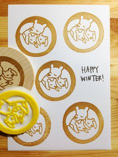 bear family rubber stamp. hand carved rubber stamp. mama bear and cubs. diy christmas. winter greetings. mounted. READY TO SHIP. on Etsy, $18.00