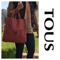 "Coral Pink Leather Tous Crossbody Bag Preowned. Used a lot. The leather has black markings on the back as shown in the pic. It's a beautiful coral pink leather color. Has one zipped pocket inside. Strap is removable. Measures 13.5"" X 13"" and strap is 44"". Open to offers Tous Bags Crossbody Bags"