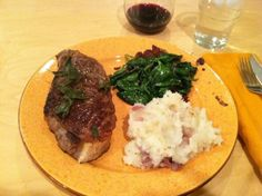 Steak with fried sage, mashed red potatoes, spinach sauteed with shallots, bacon and red wine. =perfect Sunday dinner
