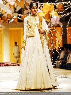 Anjali Lavania showcases a creation by designer Rohit Bal during the grand finale of India Bridal Fashion Week '13, held at Grand Hyatt, in ...