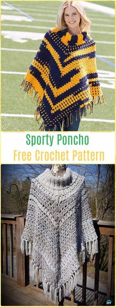 Crochet Sporty Poncho Free Pattern - Crochet Women Capes & Poncho Patterns