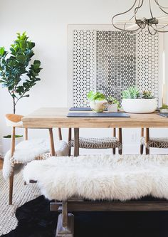 pretty neutral dining space of Rumi Neely