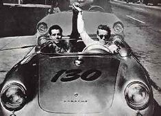 James Dean driving his new 1955 Porsche Spyder with his mechanic Rolf Wutherich on the day of his death.