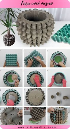Diy Crafts For Gifts, Diy Home Crafts, Creative Crafts, Concrete Crafts, Concrete Projects, Diy Projects, Diy Concrete Planters, Diy Planters, Diy Garden Decor