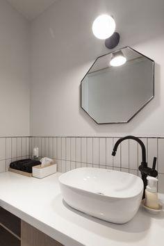 팔레트(palette) - 상가주택 인테리어,파우더룸 Washroom, Scandinavian Interior, Bathroom Interior, Powder Room, Home Interior Design, Bathroom Lighting, Toilet, Sink, House