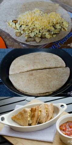 Breakfast Quesadilla Kids favorite breakfast, they will love it every time (I'll leave out the mushrooms)
