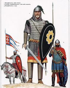 Christian warriors of the Byzantine Empire The Byzantine Empire was the predominantly Greek-speaking continuation of the eastern half of the Roman Empire during Late Antiquity and the Middle Ages. I searched for this on /images Medieval World, Medieval Knight, Medieval Armor, Byzantine Army, Christian Warrior, Empire Romain, Roman History, Historical Art, Roman Empire