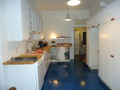 recently renovated kitchen IKEA and blue floor