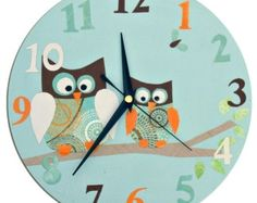 Owl Clock - Personalized / Children's wall Clock / Nursery Clock - Blue, Pink, Yellow