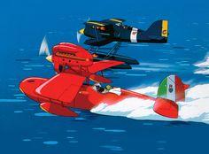 Savoia and Curtiss Porco Rosso, by Hayao Miyazaki (studio Ghibli) 1992 Secret World Of Arrietty, The Secret World, Studio Ghibli Art, Studio Ghibli Movies, Hayao Miyazaki, Airplane Drawing, Arte Nerd, Film Studio, Aviation Art