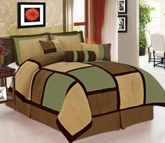 7 Pieces Sage Brown & Beige Micro Suede Patchwork Comforter Bedding Set Washable Full Size