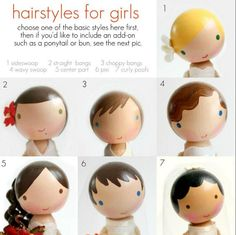 Running With Scissors: Doll House Part peg people Painted hairstyles for wooden dolls. Wood Peg Dolls, Clothespin Dolls, Nativity Peg Doll, Operation Christmas Child, Kokeshi Dolls, Matryoshka Doll, Dolls Dolls, Dollhouse Dolls, Wooden Pegs