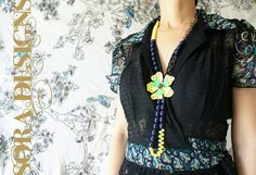 Black shirtdress with neon lime green bright yellow vintage floral Lucite beaded necklace