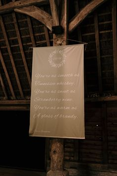 Linen Sign at DIY Farm Wedding | By Jessica Lily Photography | DIY Wedding Ideas | Farm Wedding | Rustic Wedding | Barn Wedding | DIY Wedding Decor | DIY Wedding Favours | DIY Wedding Signs | Wedding Sign | Wedding Decor Rustic Wedding Signs, Wedding Signage, Farm Wedding, Wedding Day, Diy Wedding Favors, Diy Wedding Decorations, Smooth As Tennessee Whiskey, Strawberry Wine, Diy Signs