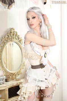 young steampunk woman with long white hair and a short white shirt that leaves little to the imagination Kato Steampunk, Steampunk Couture, Steampunk Dress, Steampunk Fashion, Victorian Steampunk, Bride Of Frankenstein Costume, Steam Girl, Steam Punk, Long White Hair