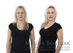 Dorota przed i po zabiegach makijazu permanentnego. Podkreśliliśmy delikatnie oczy i brwi. Usta zyskały regularny kształt i śliczny kolor.