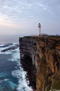 Noup Head Lighthouse in the gloaming, Westray, Orkney )