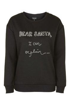 Dear Santa Sweatshirt - Glitter Girl - Christmas - Topshop