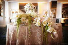Heavy embroidered linen and gorgeous hanging centerpiece for sweetheart table.