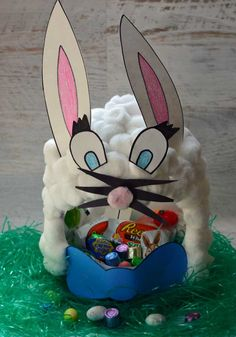 Make an adorable bunny Easter basket with your kids! All you need is an empty milk jug, cotton balls, and glue for this fun Easter craft!