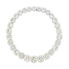 A MAGNIFICENT DIAMOND RIVIÈRE Composed of twenty-eight graduated circular-cut diamonds, weighing approximately 18.54 to 6.03 carats, mounted in platinum and gold, 37.5 cm