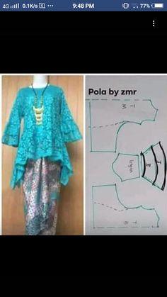 High low hem tunic pattern kinda blue and white Kebaya Lace, Kebaya Hijab, Kebaya Brokat, Kebaya Dress, Dress Sewing Patterns, Blouse Patterns, Clothing Patterns, Blouse Designs, Pattern Sewing