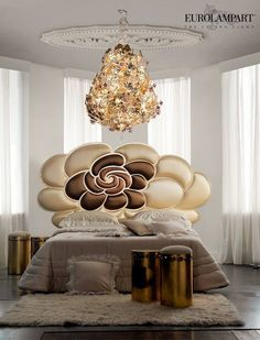 Chery collection  Euro Lamp Art Srl Home Collection  Handmade metal bed with satin tissue in 3 colors Handmade metal chandelier in leaf decoration with Murano violet roses #eurolampart #luxurybed #bedroom #chandelier #light #lighting #luxurylighting www.eurolampart.it