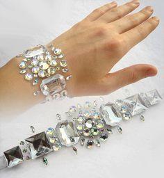 Floating Aurora Borealis Rhinestone Bracelet, Rhinestone Illusion Bracelet, Crystal AB Bridal Bracelet, Illusion Jewelry, Bridesmaid Gift