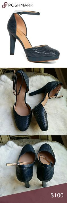"""Price ⤵Brooks Brothers heels Brooks Brothers calfskin leather ankle strap heels Women's navy blue ankle strap heels. Beautiful woven craftsmanship in calfskin leather. Fully leather lined and padded sock leather sole. 3"""" heel with 1/2"""" platform. Like new, I've only used them once. Brooks Brothers Shoes Heels"""