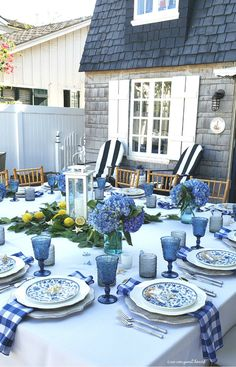 Built in 1928 and lovingly updated, this home retains so much of its original character. From the gorgeous façade to the blue dutch door, this home is spectacular and so charming! Blue Table Settings, Beautiful Table Settings, Blue And White China, Dinning Table, Table Arrangements, Deco Table, White Decor, Outdoor Dining, Country Decor