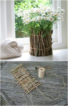 25 cheap and easy DIY home and garden projects with embroidery .- 25 billig und einfach DIY Haus und Garten-Projekte mit Sticks und Zweige 25 cheap and easy DIY home and garden projects with sticks and twigs - Easy Diy Mother's Day Gifts, Diy Mothers Day Gifts, Mother's Day Diy, Twig Crafts, Vase Crafts, Diy And Crafts, Decor Crafts, Diy Decorations For Home, Cheap Diy Home Decor