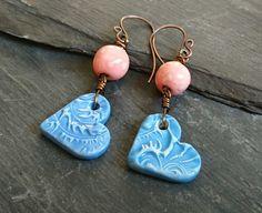 SALE ceramic peach polka dot and blue heart bead earrings, copper ear wires Copper Earrings, Bead Earrings, Handmade Jewellery, Earrings Handmade, Swirl Pattern, Handmade Copper, Copper Wire, Polka Dots, Peach