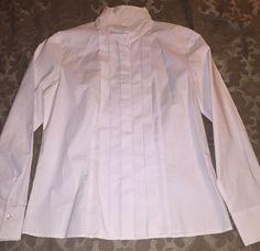 4a69e35faf531 Talbots Stretch Size 8 Longsleeve White Pleated Tuxedo Top Shirt  78 Women S