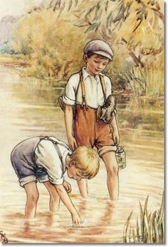 Vintage Illustration Cicely Mary Barker - boys wading in the creek Cicely Mary Barker, Art And Illustration, Magazine Illustration, Book Illustrations, Vintage Children's Books, Vintage Art, Famous Artwork, Vintage Drawing, Flower Fairies