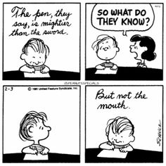 First Appearance: February 3, 1981 #peanutsspecials #ps #pnts #schulz #linus #lucy #pen #mightier #sword #mouth www.peanuts.com www.peanutsspecials.com