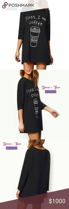 """Coffee Print Long T-Shirt Black round neck coffee print long t-shirt. Fabric has some stretch. Material is 95% cotton and 5% spandex. Limited quantity! Buy yours now!  Approximate Measurement Laying Flat  Bust: 21"""" Shoulder: 18.5"""" Length: 29"""" Sleeve Length: 20""""  PRICE is FIRM 10% OFF BUNDLE NO Trades Tops Tees - Long Sleeve"""