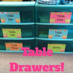 I use these drawers to organize books, workbooks, journals, packets, etc. It's a great way to keep items organized when you use tables in the classroom instead of desks!