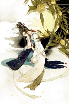 Moon fairy - Chang E and her pet - Jade Rabbit. Chinese painting #china