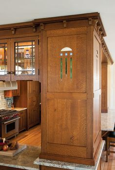Craftsman Kitchen - Crown Point creates the flavor of Arts & Crafts in the heart of the home. Arts And Crafts Interiors, Arts And Crafts Furniture, Arts And Crafts House, Home Crafts, Home Furniture, Kitchen Furniture, Bedroom Furniture, Modern Furniture, Craftsman Style Kitchens