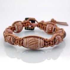 Shamballa style macrame bracelet  Mali clay by DonaQuichotteJewels, $49.00