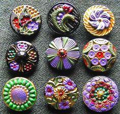 Czech Glass Buttons, 1920's. Buttons are a unique collection idea.