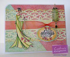 "Kaboo Designs Jodi Hammond Amidei ""Always""   Stamps - Kimono Porcelain, Bebunni Floral Aqua Markers - blossom, begonia, peach, lime, fawn, topaz, jasmine, dessert, sea green, black Distress Ink - wild honey, scattered straw @Crafter's Companion US #spectrumnoir"