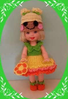 "Crochet Clothes Mari Loopsy Outfit for 4 ½"" Kelly Same Sized Dolls 